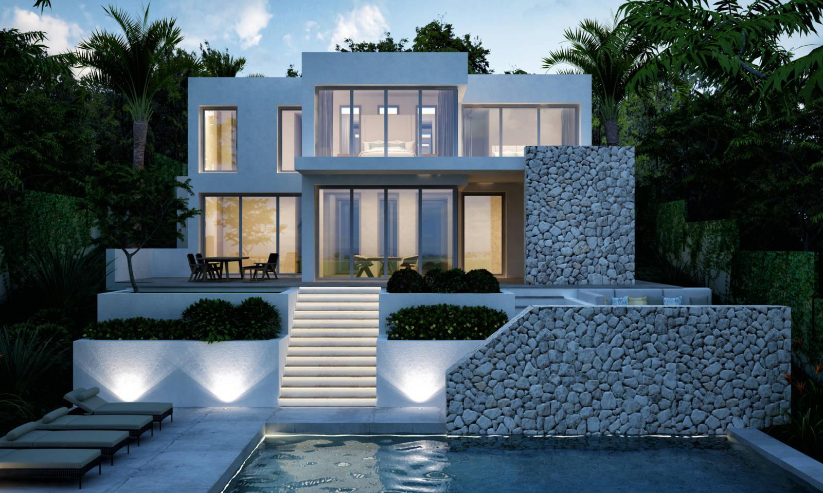 Nachtaufnahme Neubauvilla Mallorca
